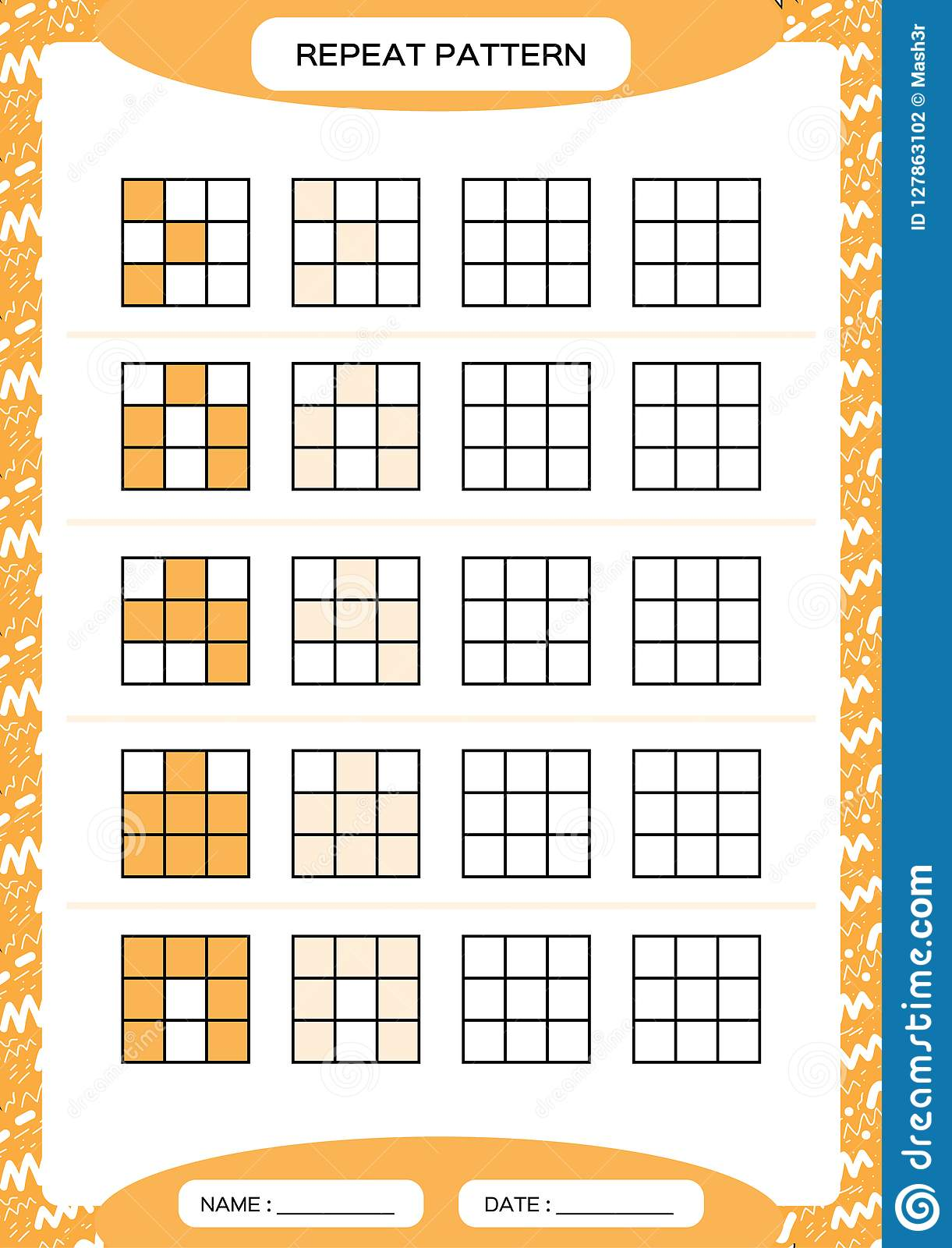 Repeat Orange Pattern Cube Grid With Squares Special For