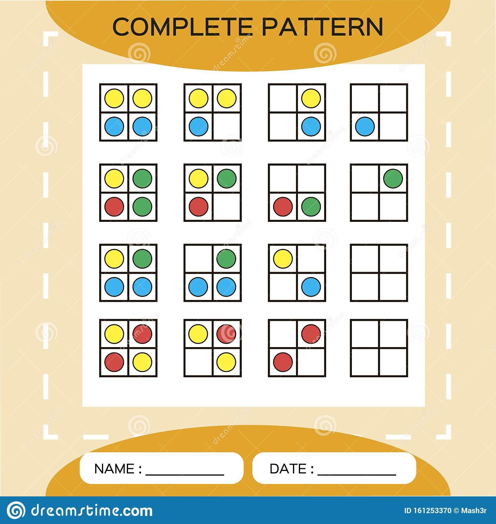 Repeat Pattern Square Grid 2x2 With Colorfull Circles