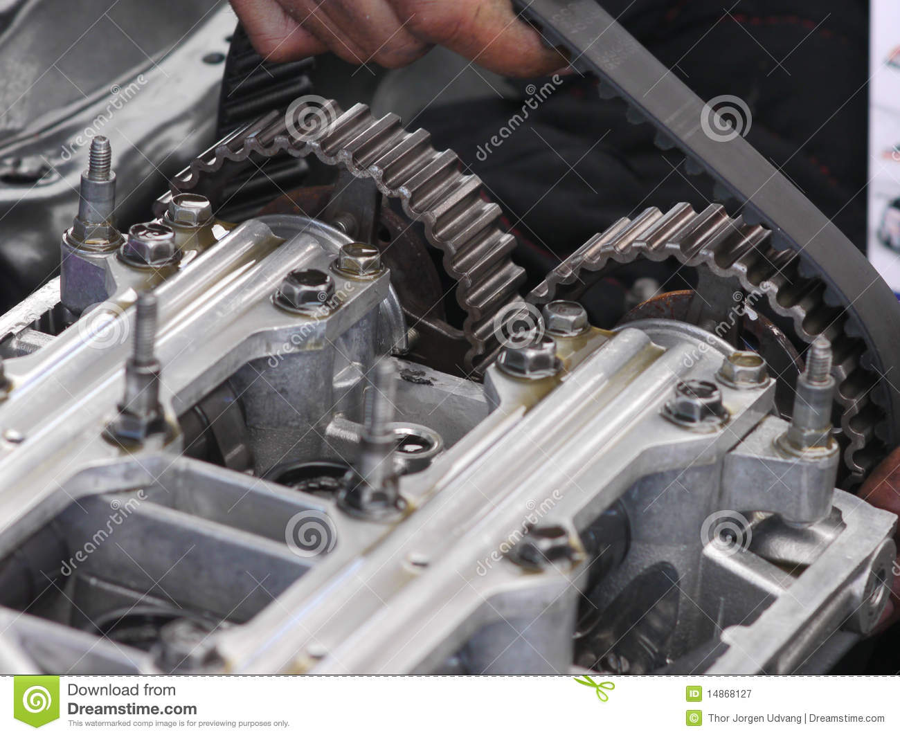 Replacement Of Camshaft Timing Belt Royalty Free Stock
