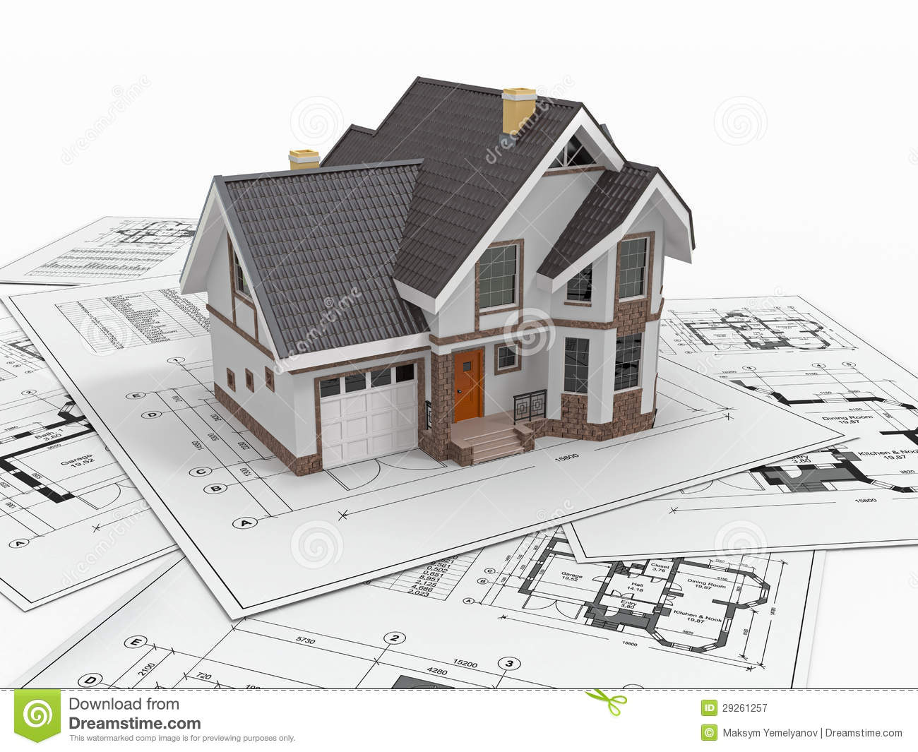 Residential House On Architect Blueprints Housing Project