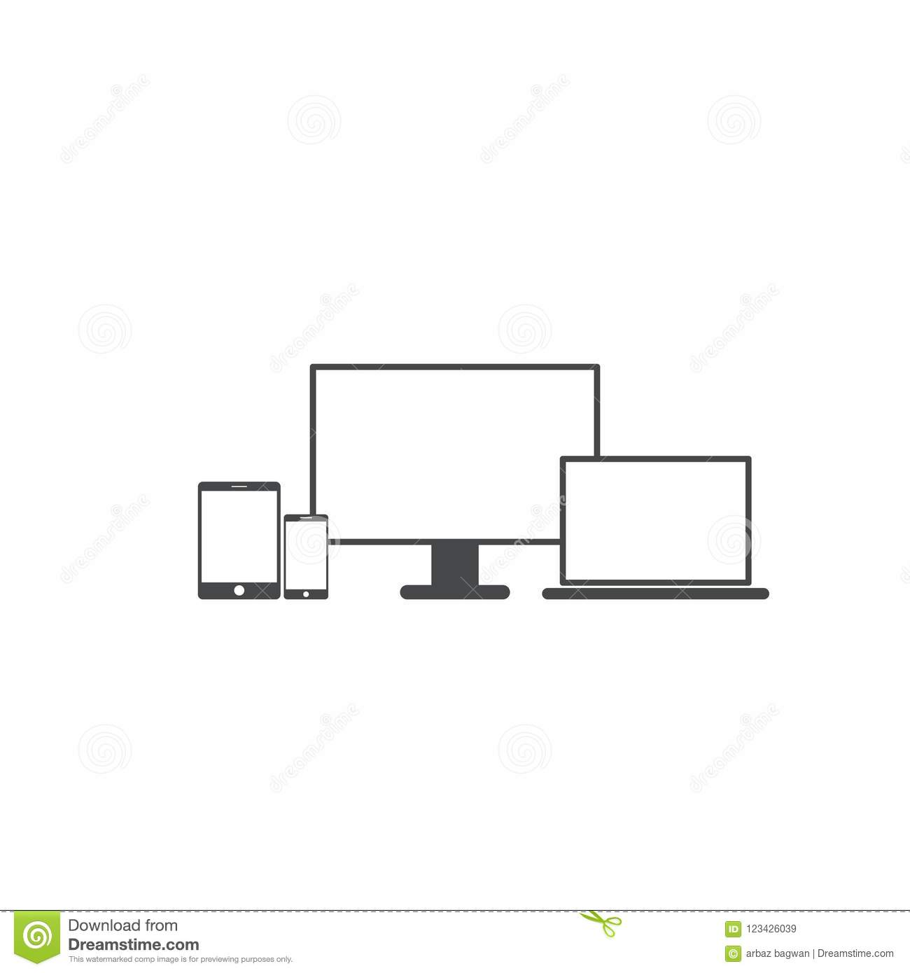 Smartphone And Tablet Pc With Blank Screen Stock