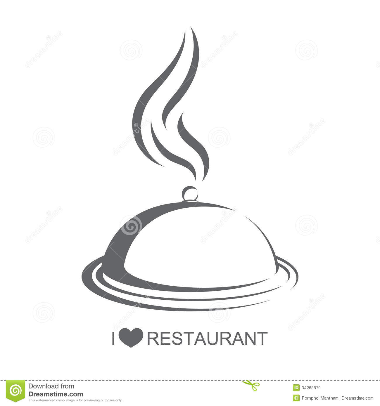Restaurant Food Platter With Cover Stock Vector