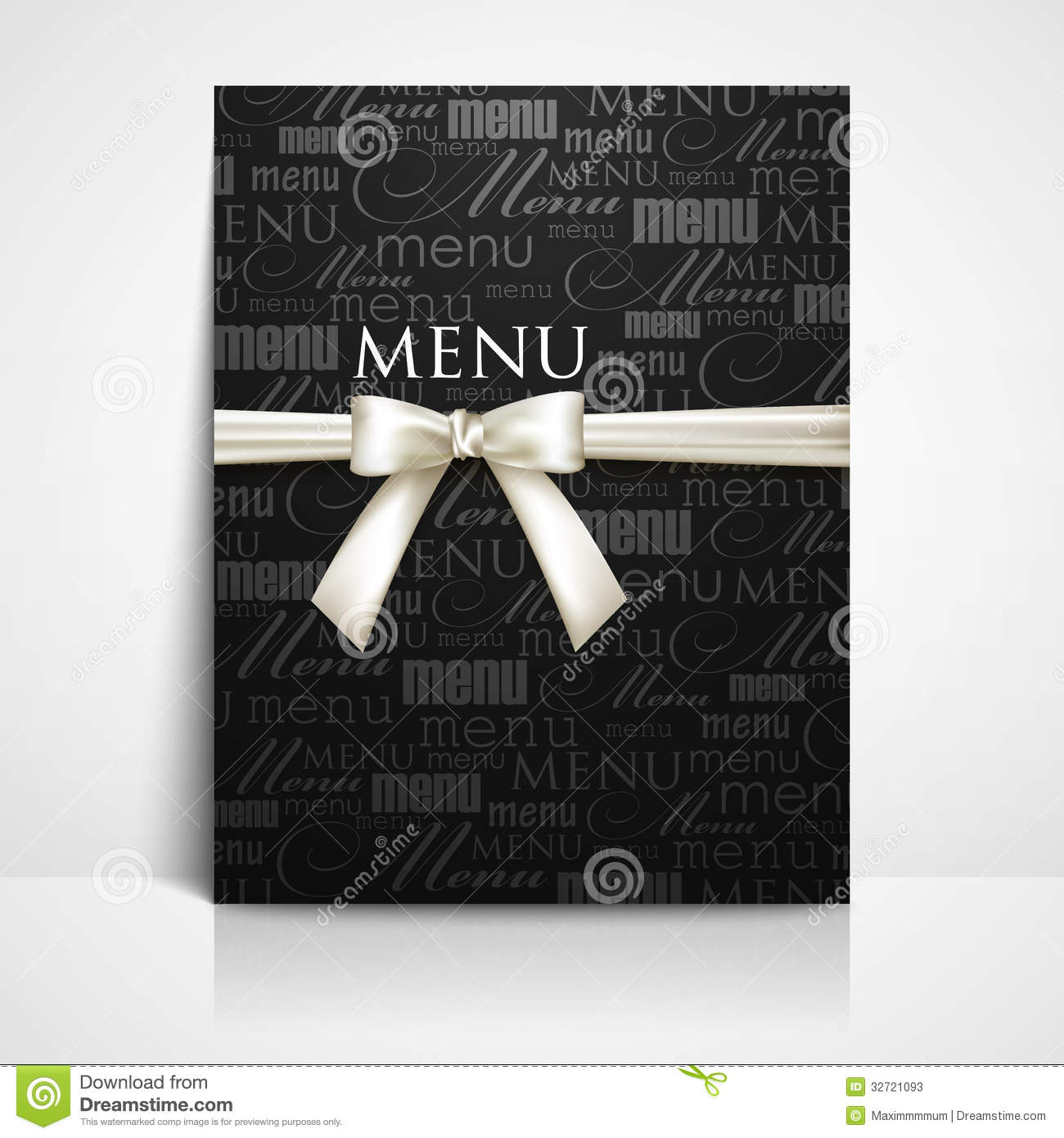 Restaurant Menu Design With White Bow And Ribbon Stock