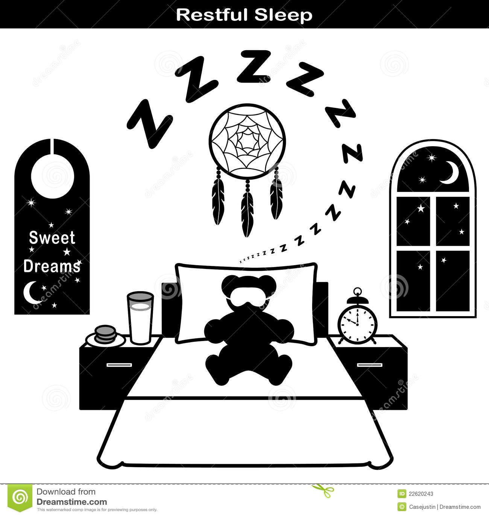 Restful Sleep Icons Stock Photos