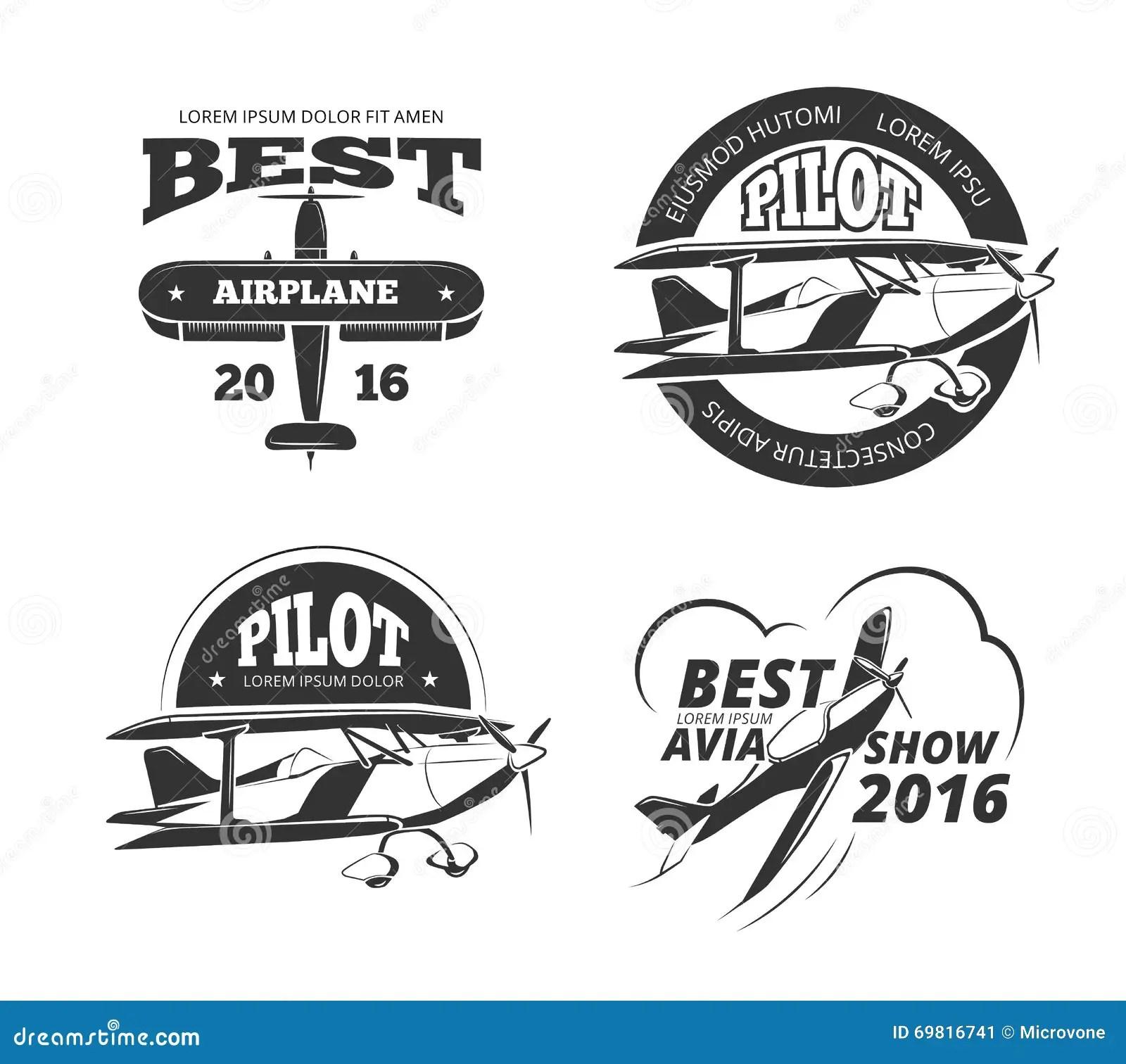 Retro Airplane Aircraft Vector Labels Set Stock Vector