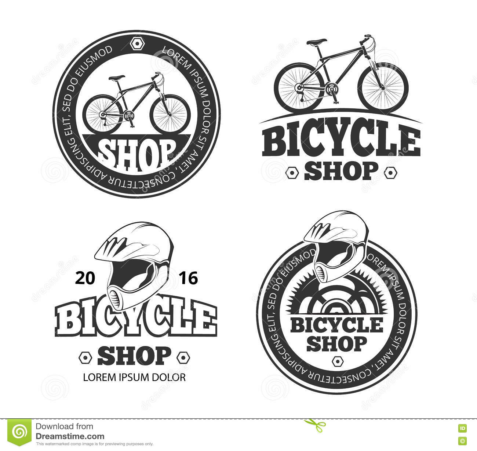 Retro Bicycle Shop Bike Sport Vector Labels Emblems