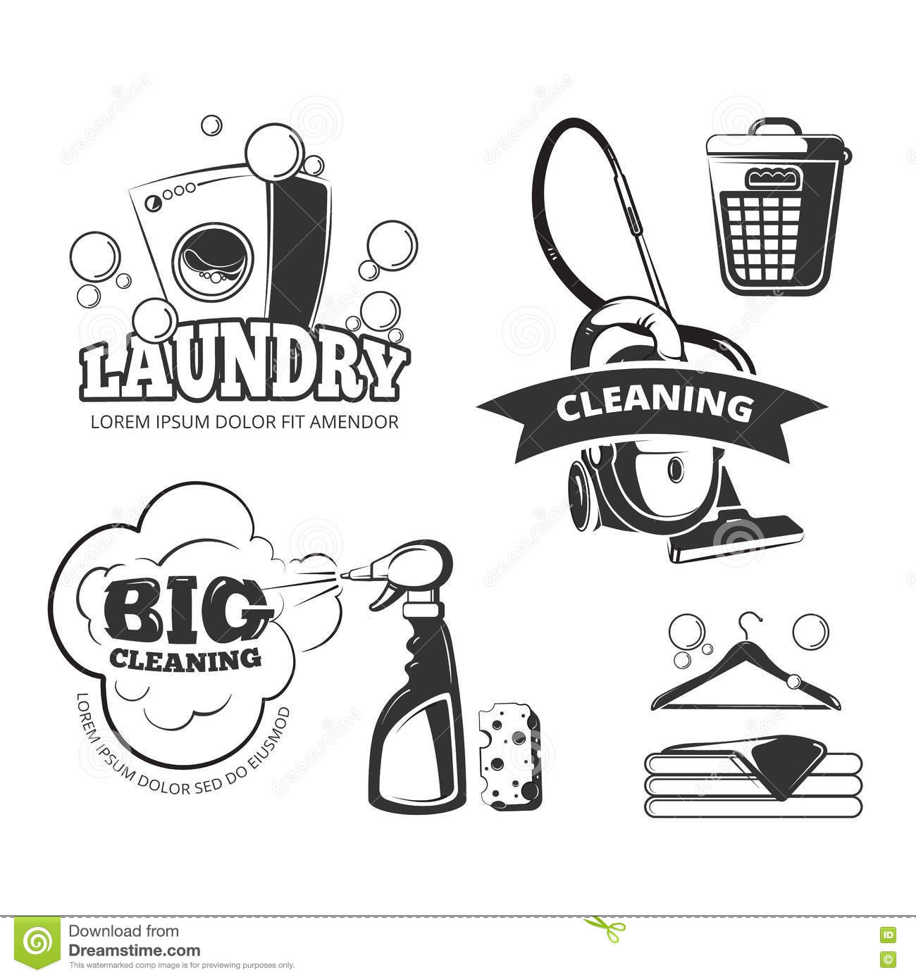 Retro Cleaning And Laundry Services Vector Labels Emblems