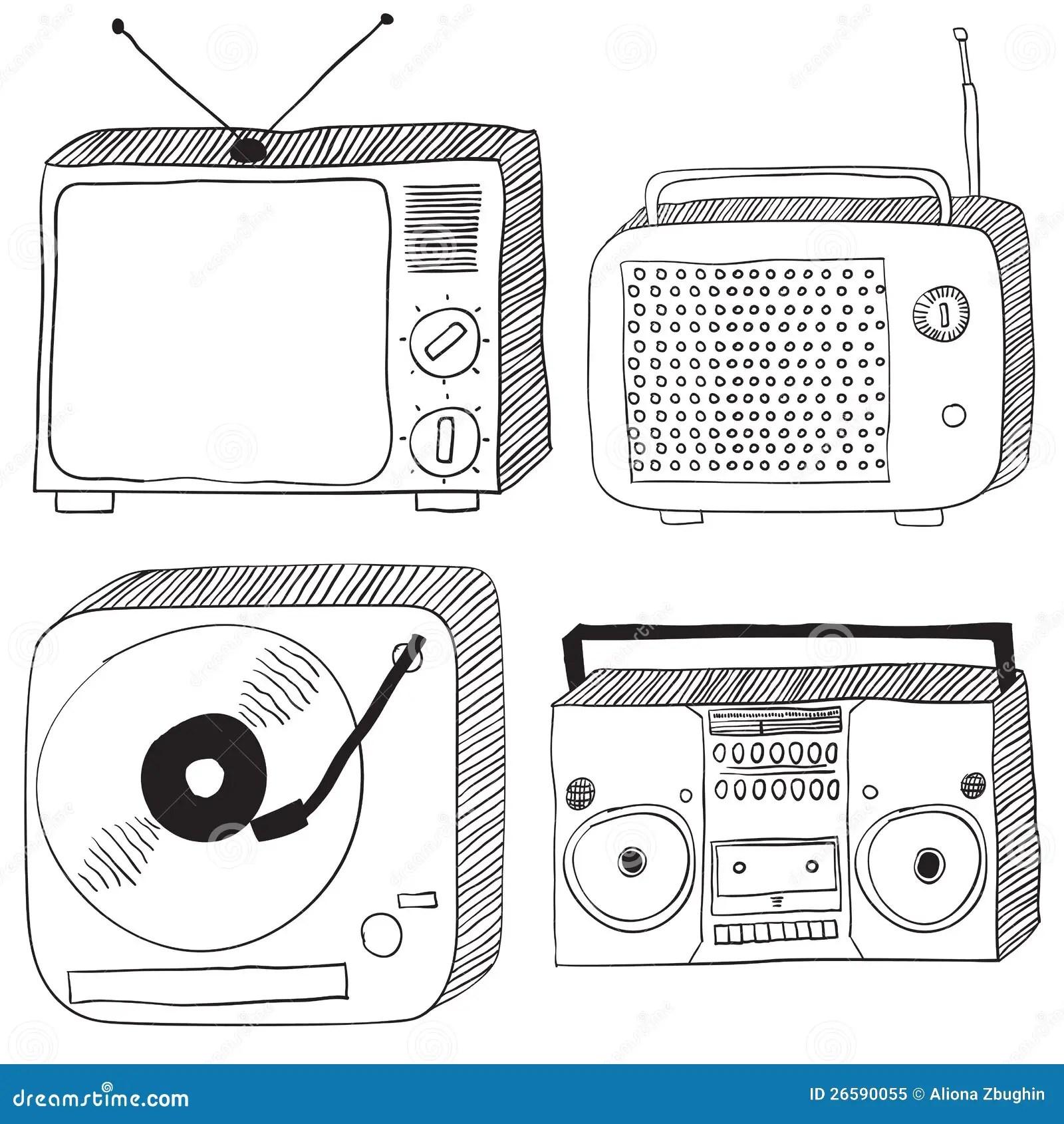 Retro Electronics Stock Vector Illustration Of Drawn