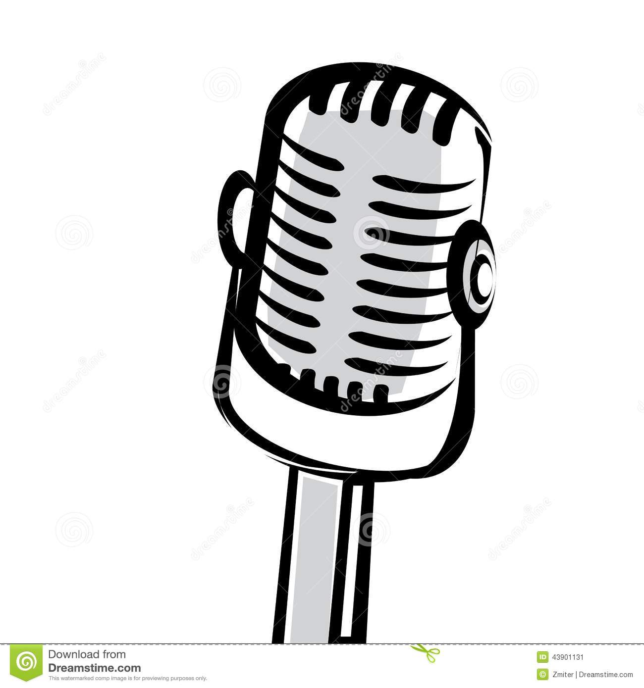 Retro Microphone Silhouette Vector Illustration Stock