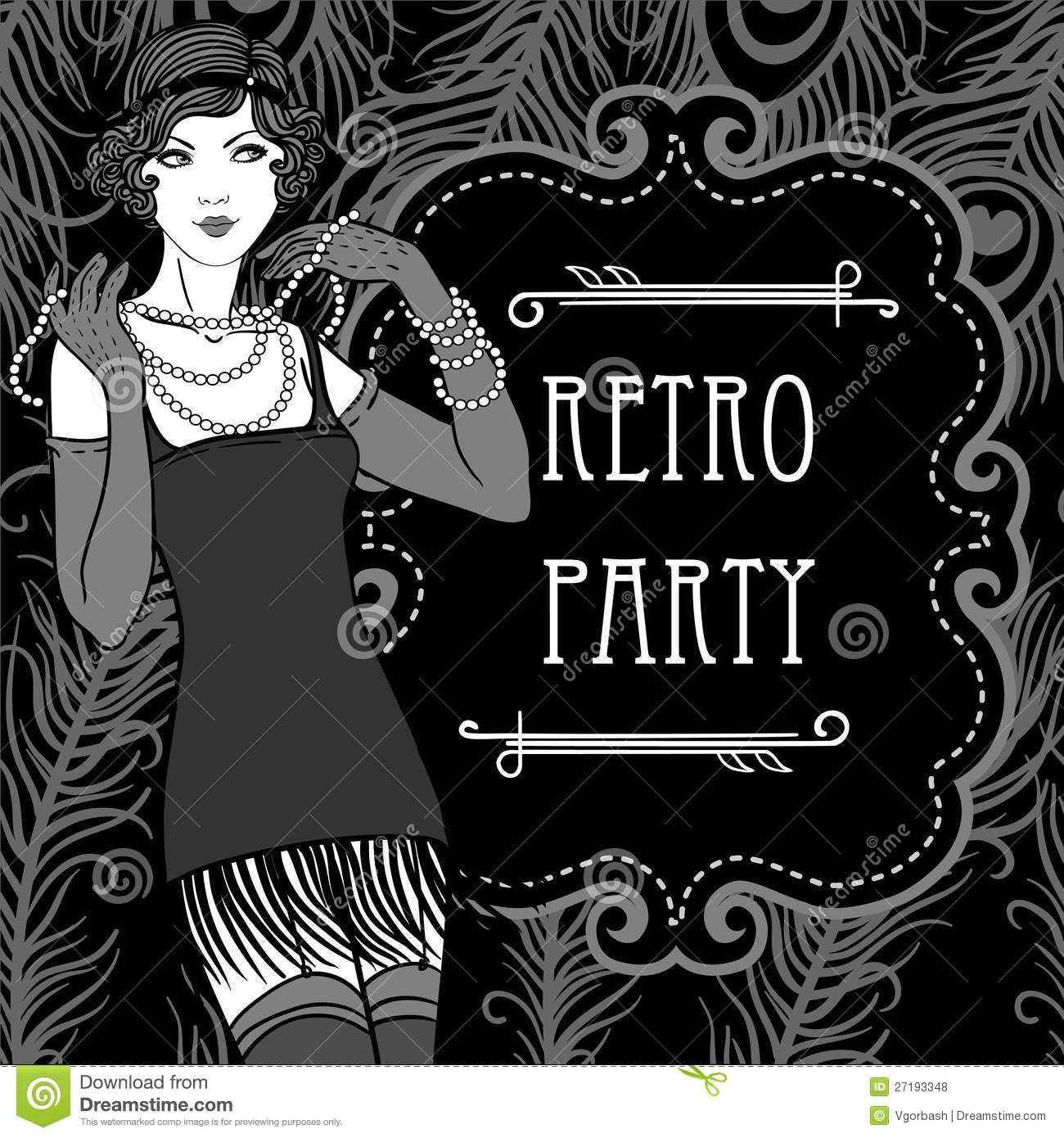 Retro Party Invitation Design In 20s Style Stock