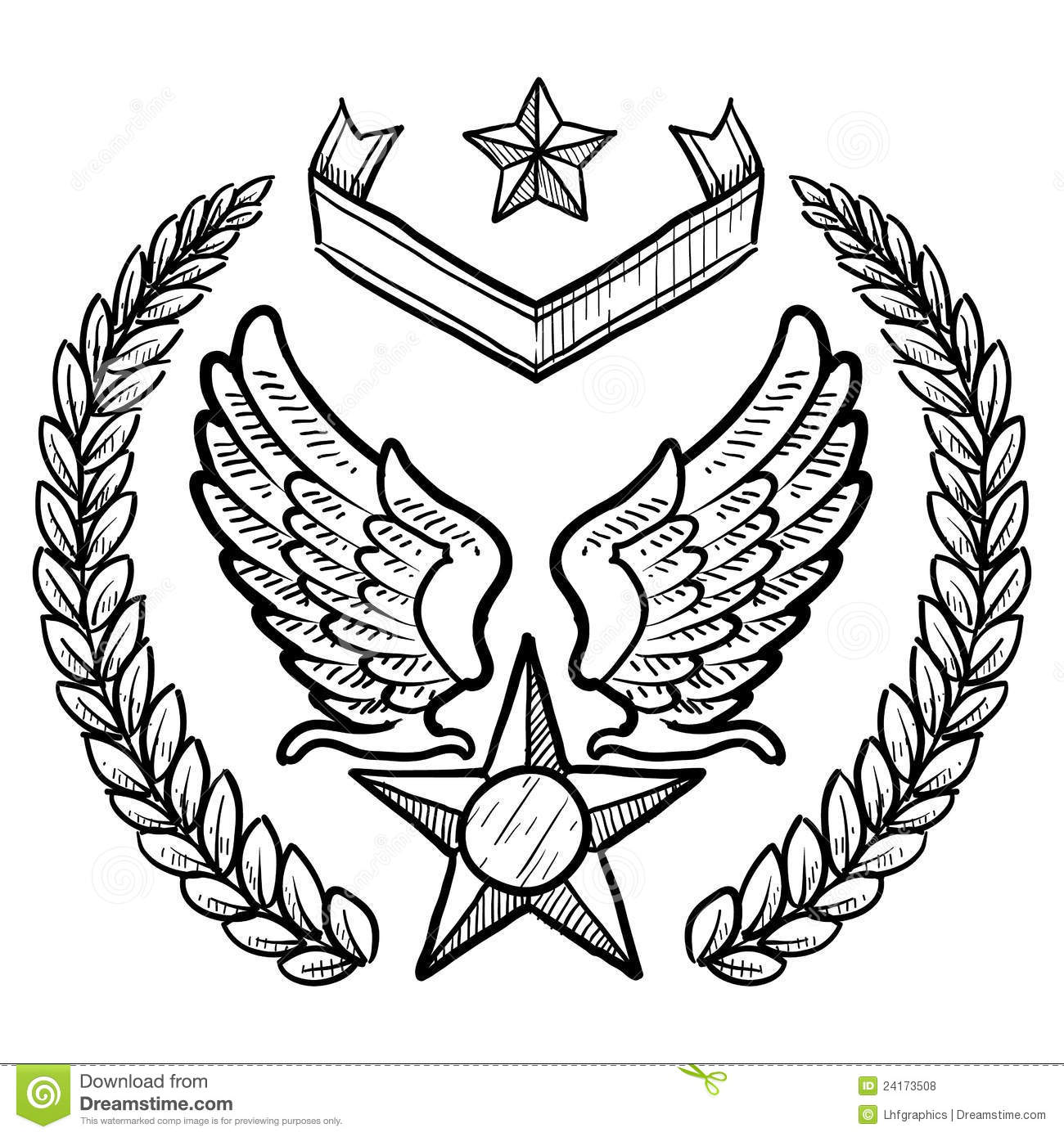 Retro Us Air Force Insignia With Wreath Royalty Free Stock