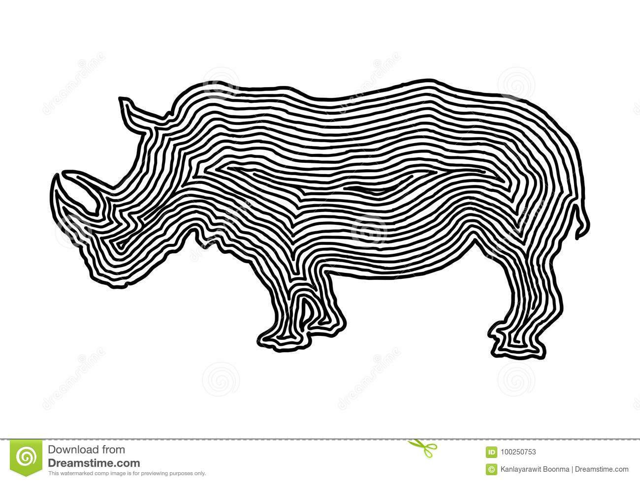 Silhouette Rhino Sketch Vector Cartoon Vector