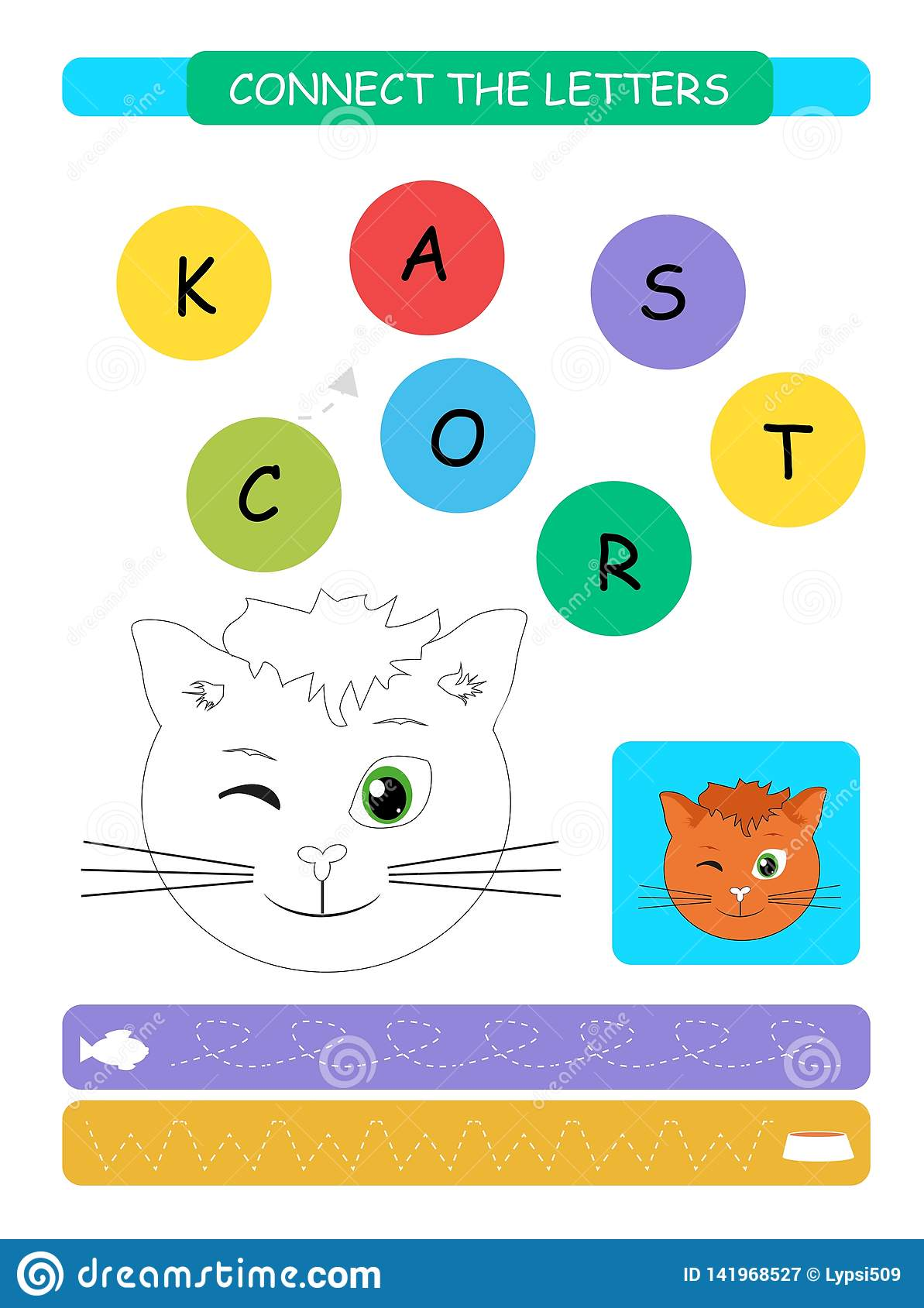 Connect The Letters Printable Worksheet For Preschool And