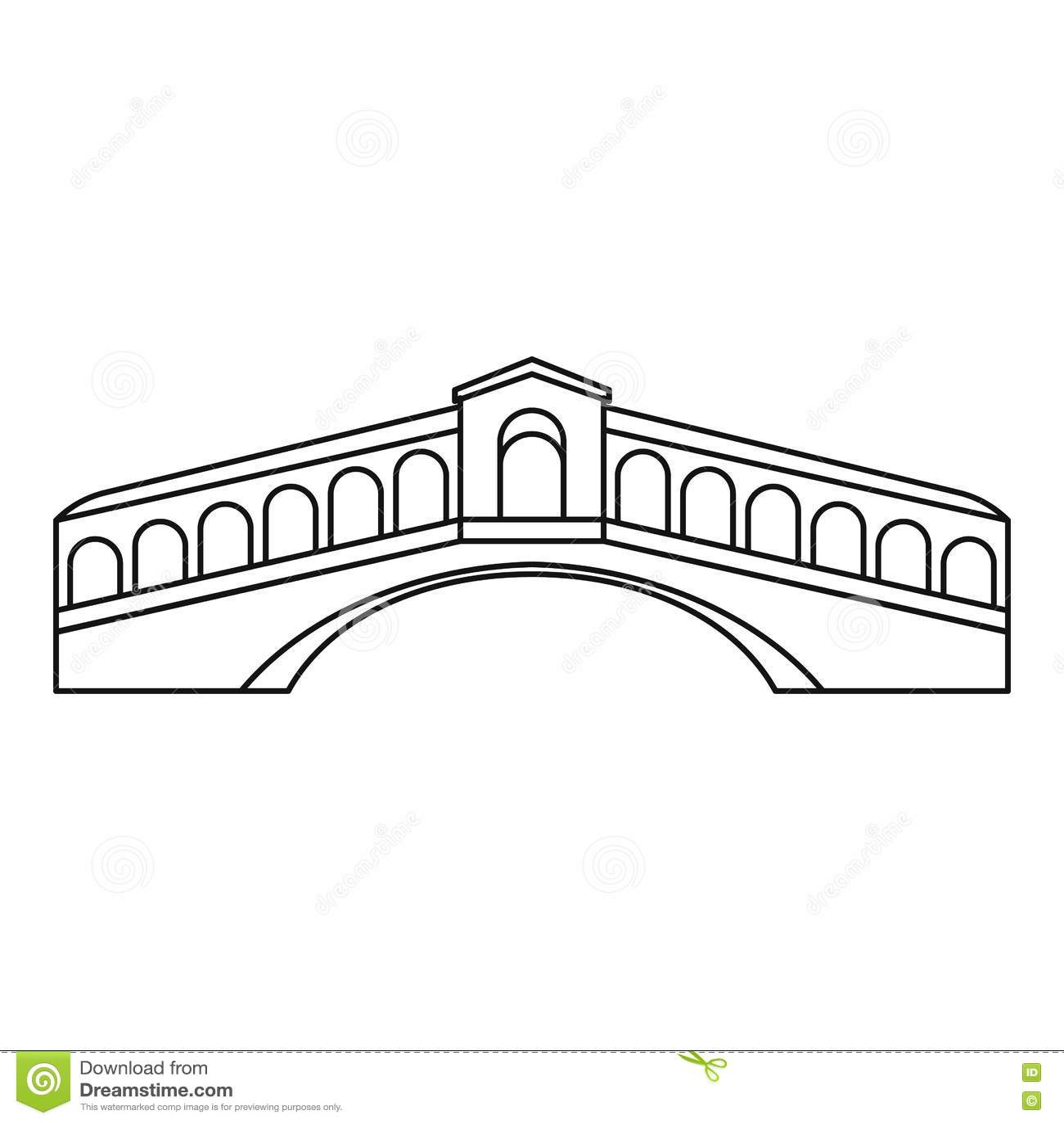 Rialto Bridge In Venice Icon Outline Style Stock Vector