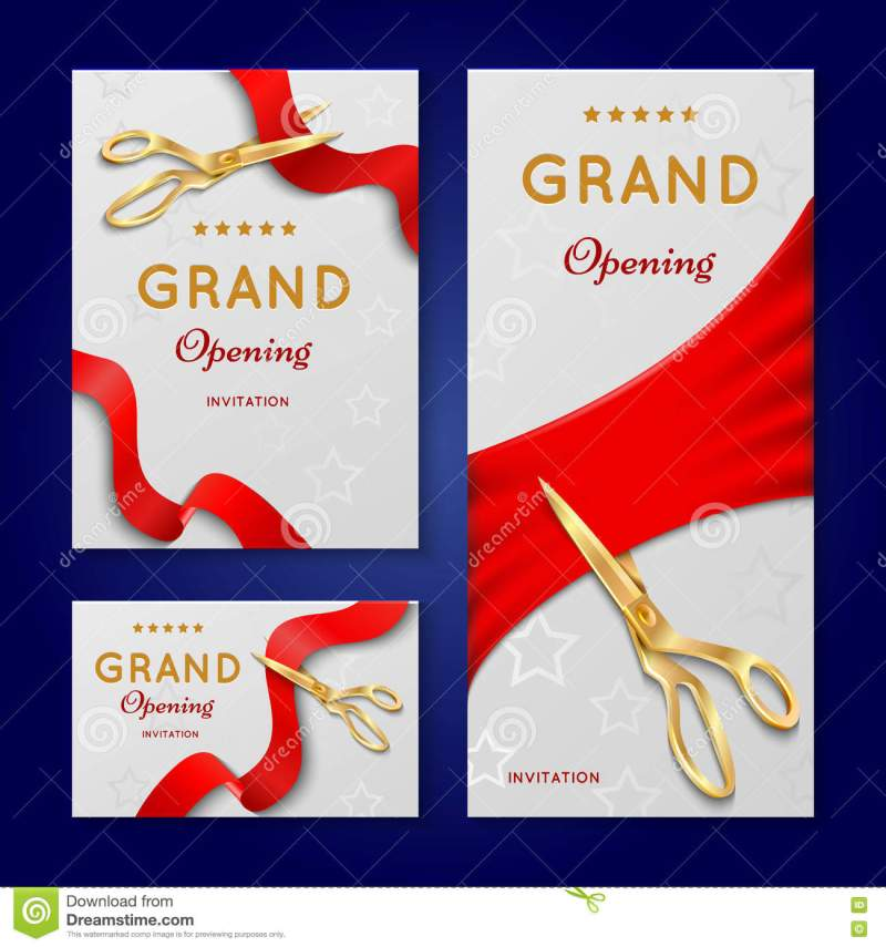 ribbon cutting with scissors grand opening ceremony vector simple ideas invitation card sample rectangular shape white opening