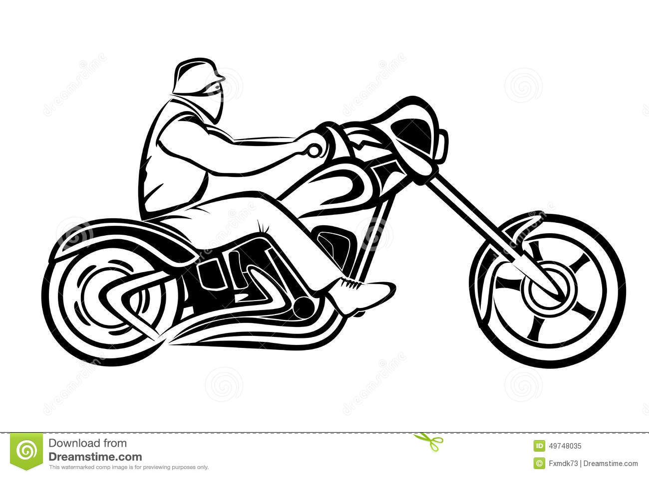 Rider On A Chopper Stock Vector Image Of Engine Track