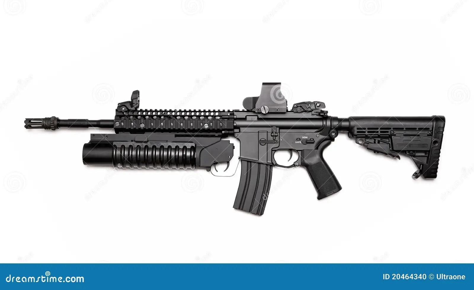 Rifle De Asalto M4a1 Con El Lanzagranadas Foto De Archivo
