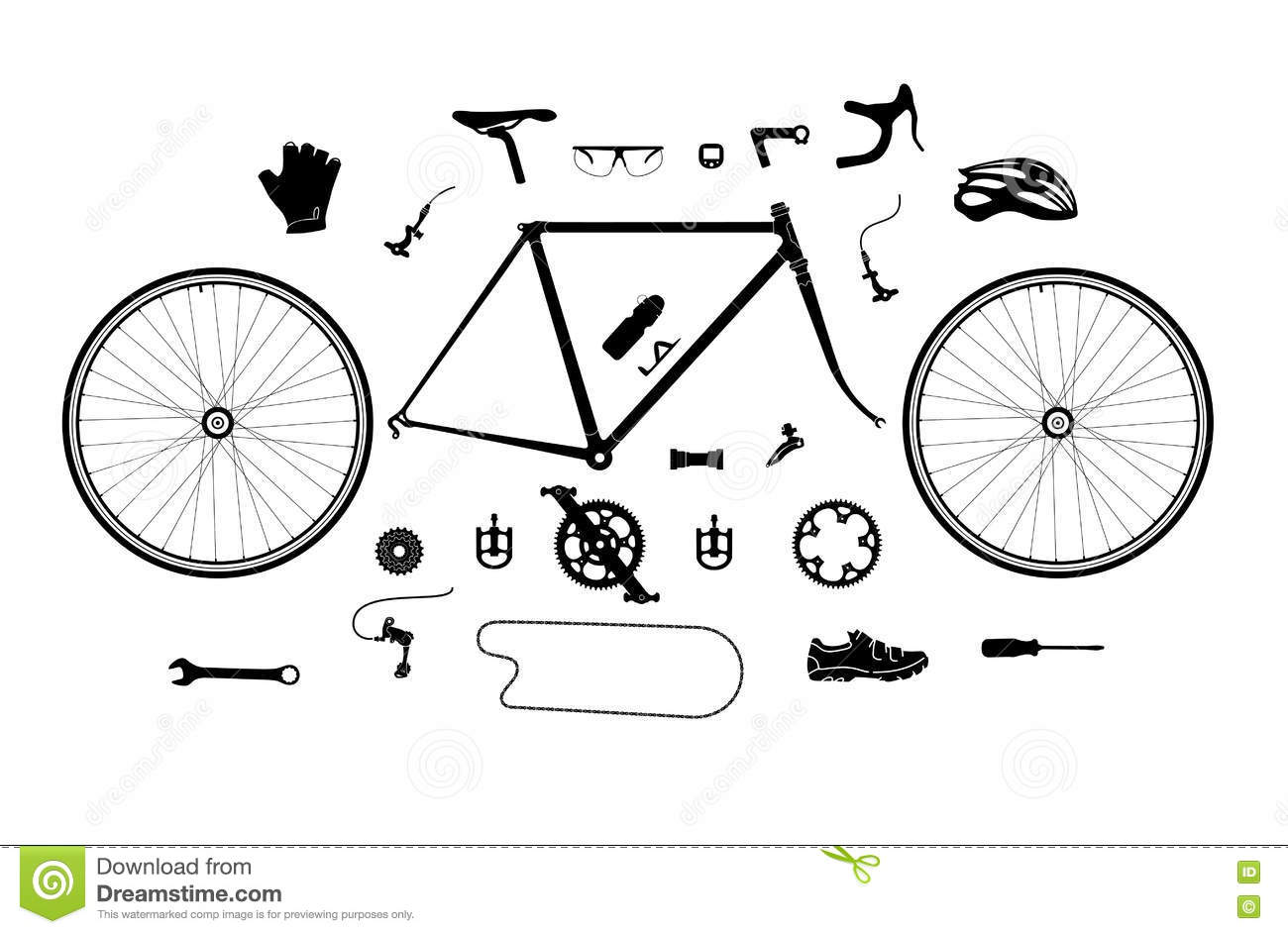 Road Bicycle Parts And Accessories Silhouette Set