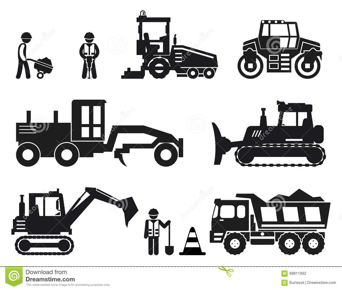 Construction Icons Set Outline Style Cartoon Vector