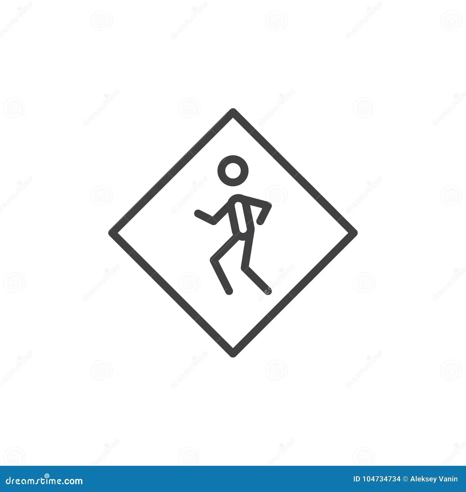 Road Sign Pedestrian Crossing Line Icon Stock Vector