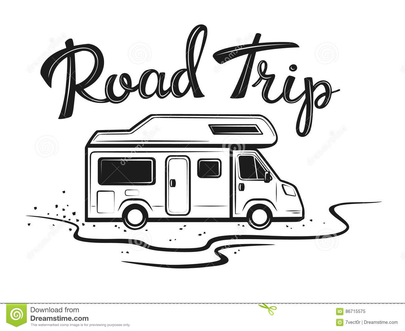 Road Trip Poster With Camper On The Way To Holidays Stock