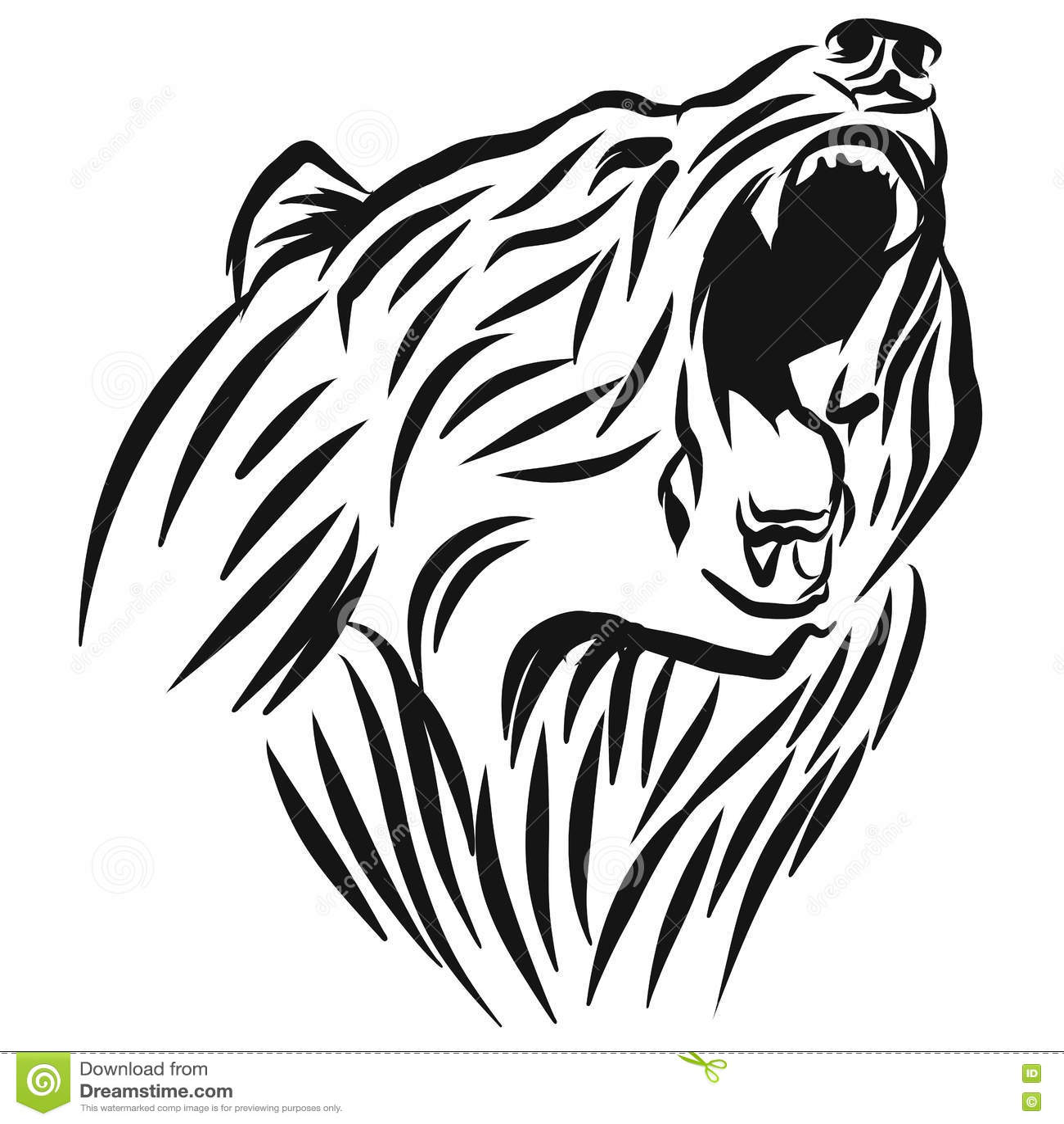 A Roaring Bear Head Logo Stock Vector Illustration Of