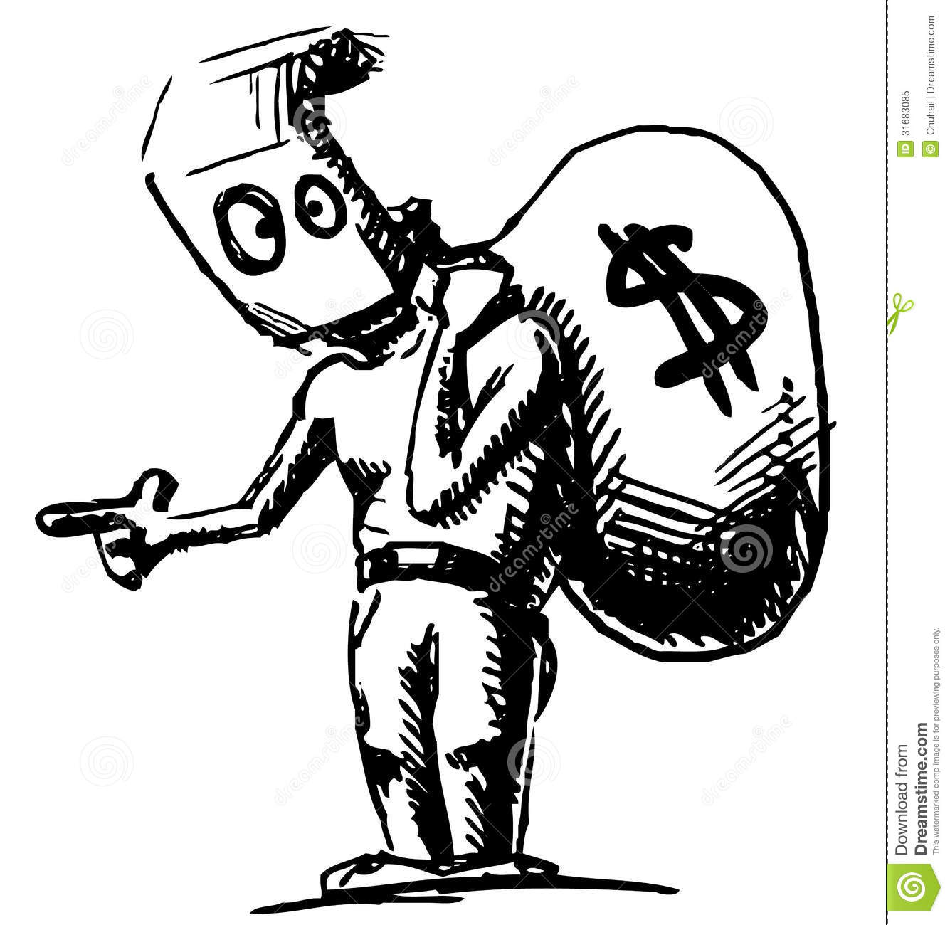 Robber In A Mask And With Money Bag Royalty Free Stock