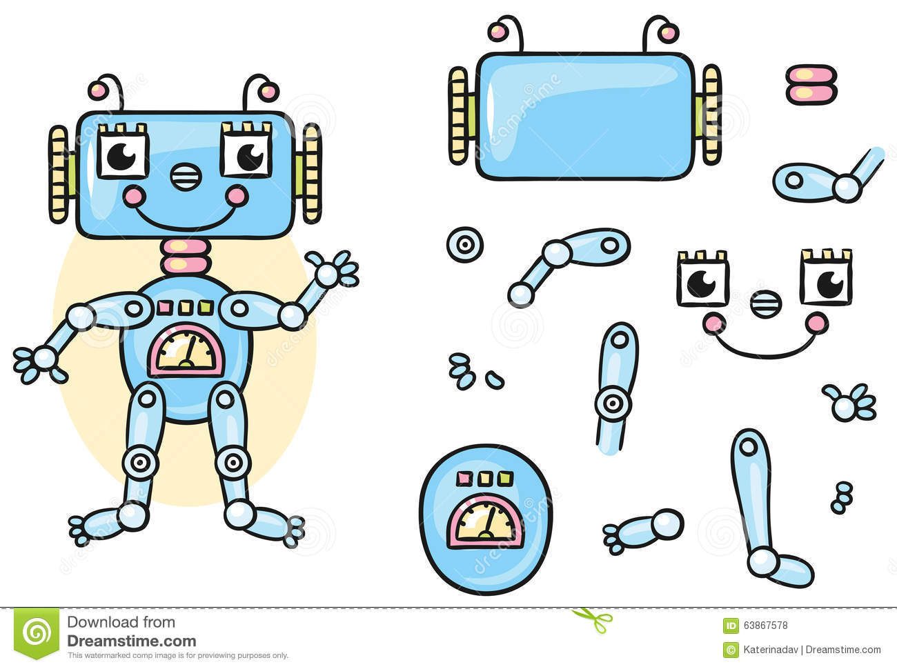 Robot Body Parts For Kids To Put Together Stock Vector