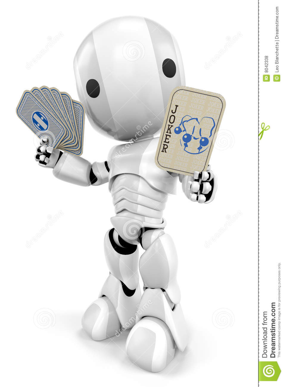 Robot With Cards And Joker Royalty Free Stock Photos