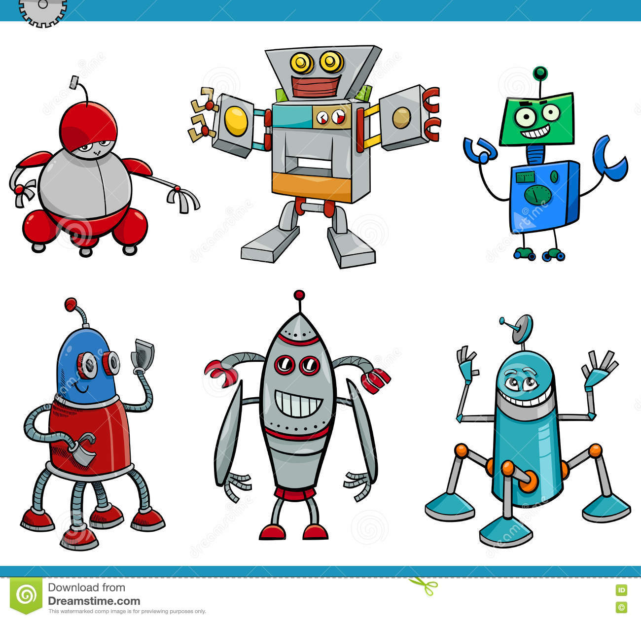 Robot Cartoon Characters Set Stock Vector