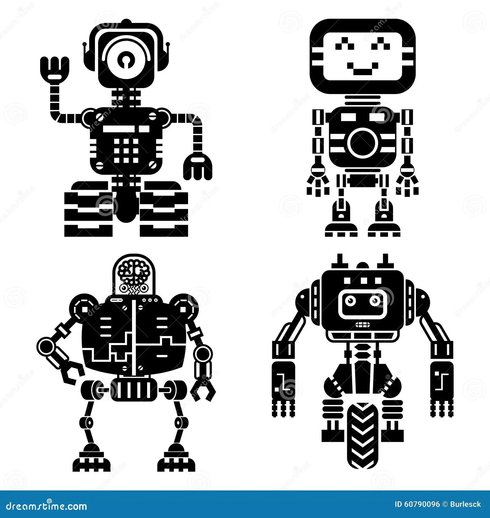 Artificial Intelligence Icons Set Cartoon Vector