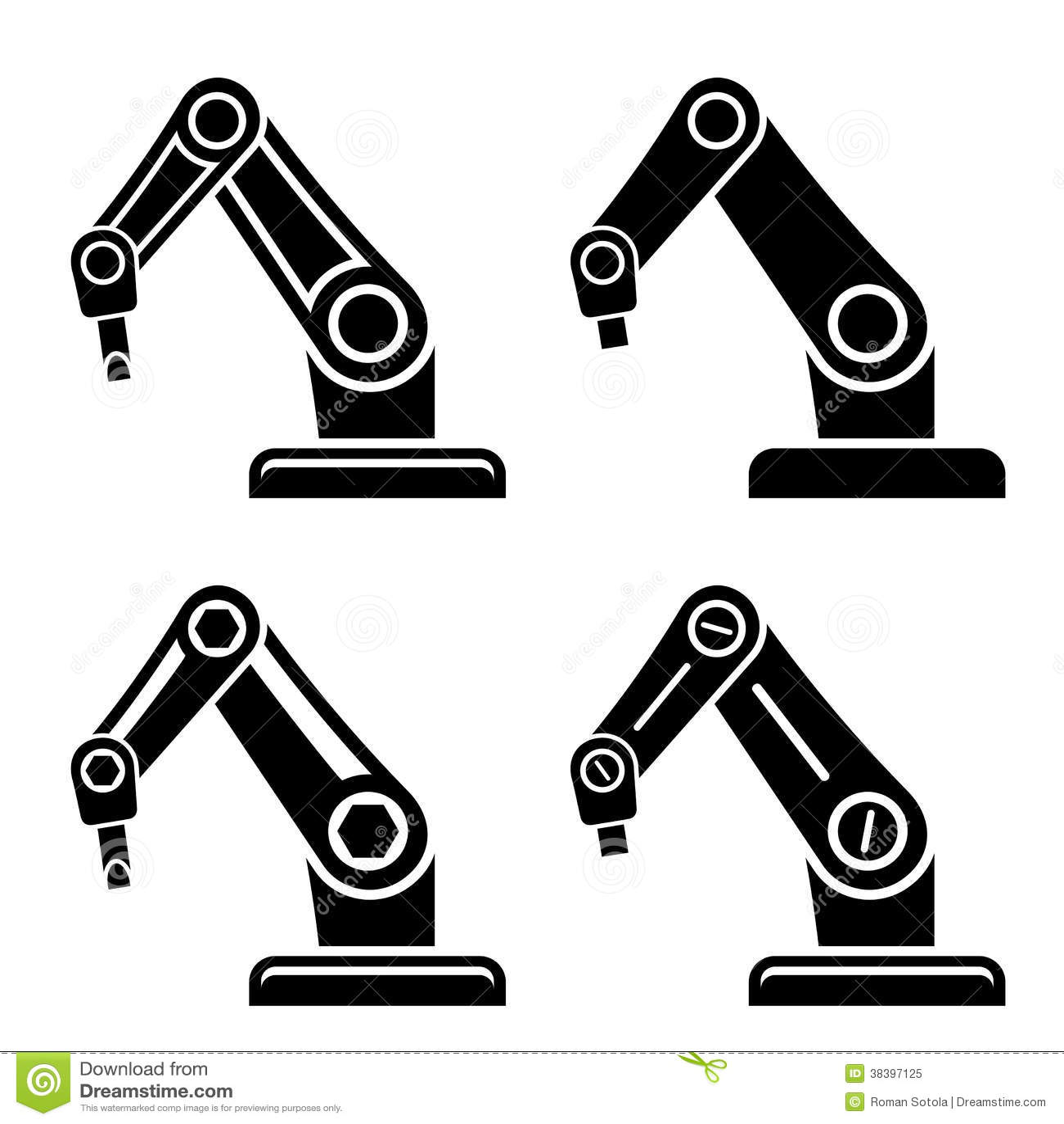 Robotic Arm Black Symbol Stock Vector Image Of Design