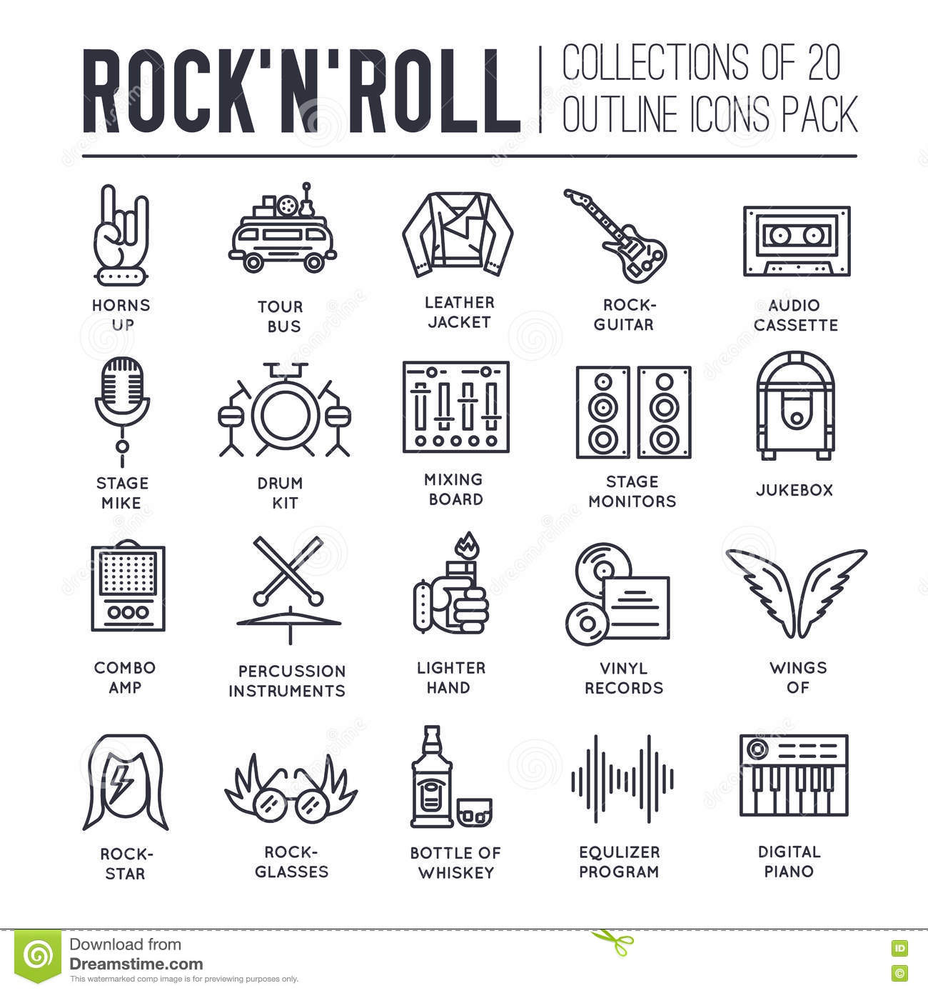 Rock N Roll Circle Outline Icons Collection Set Music