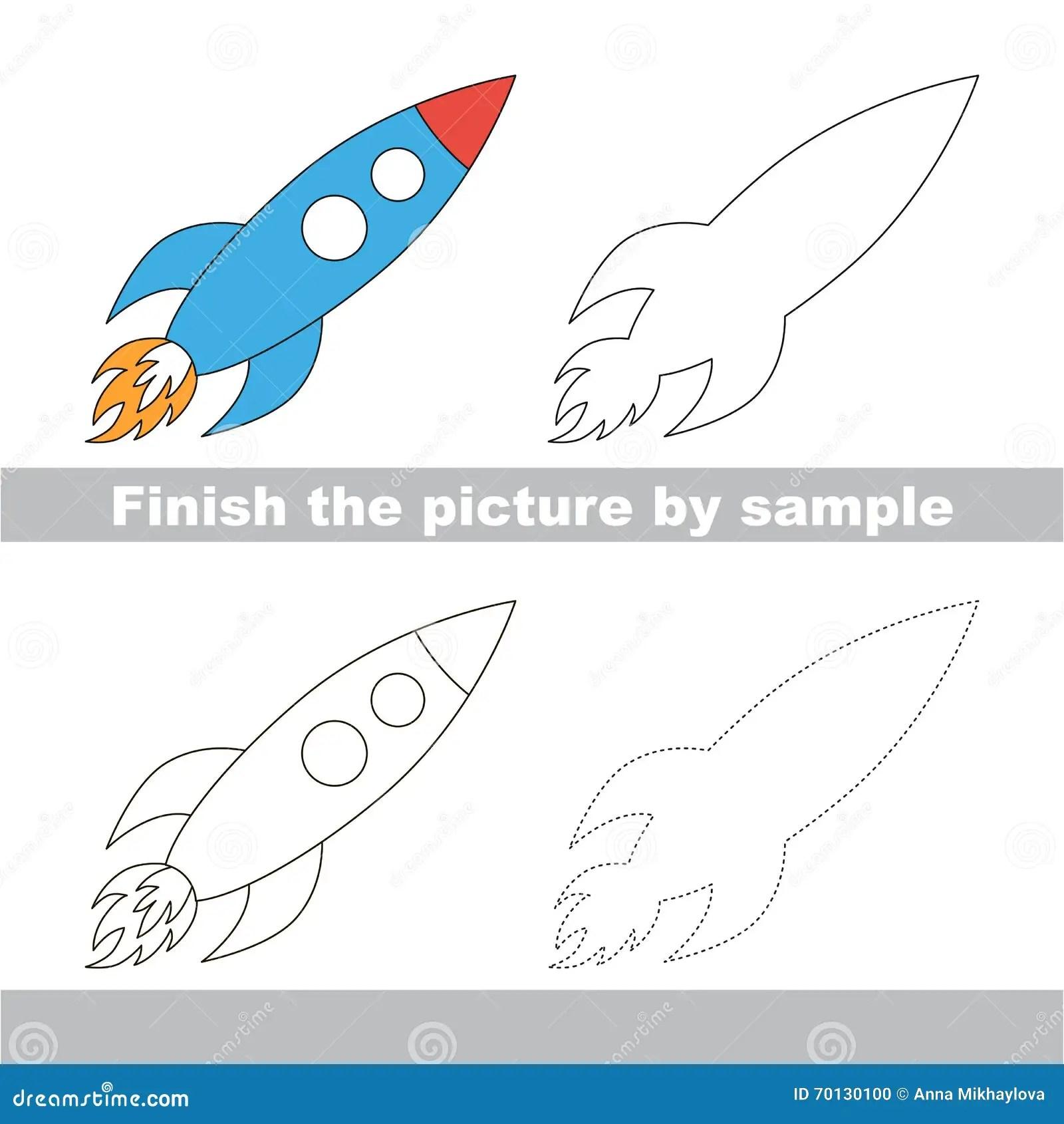 Rocket Drawing Worksheet Stock Illustration