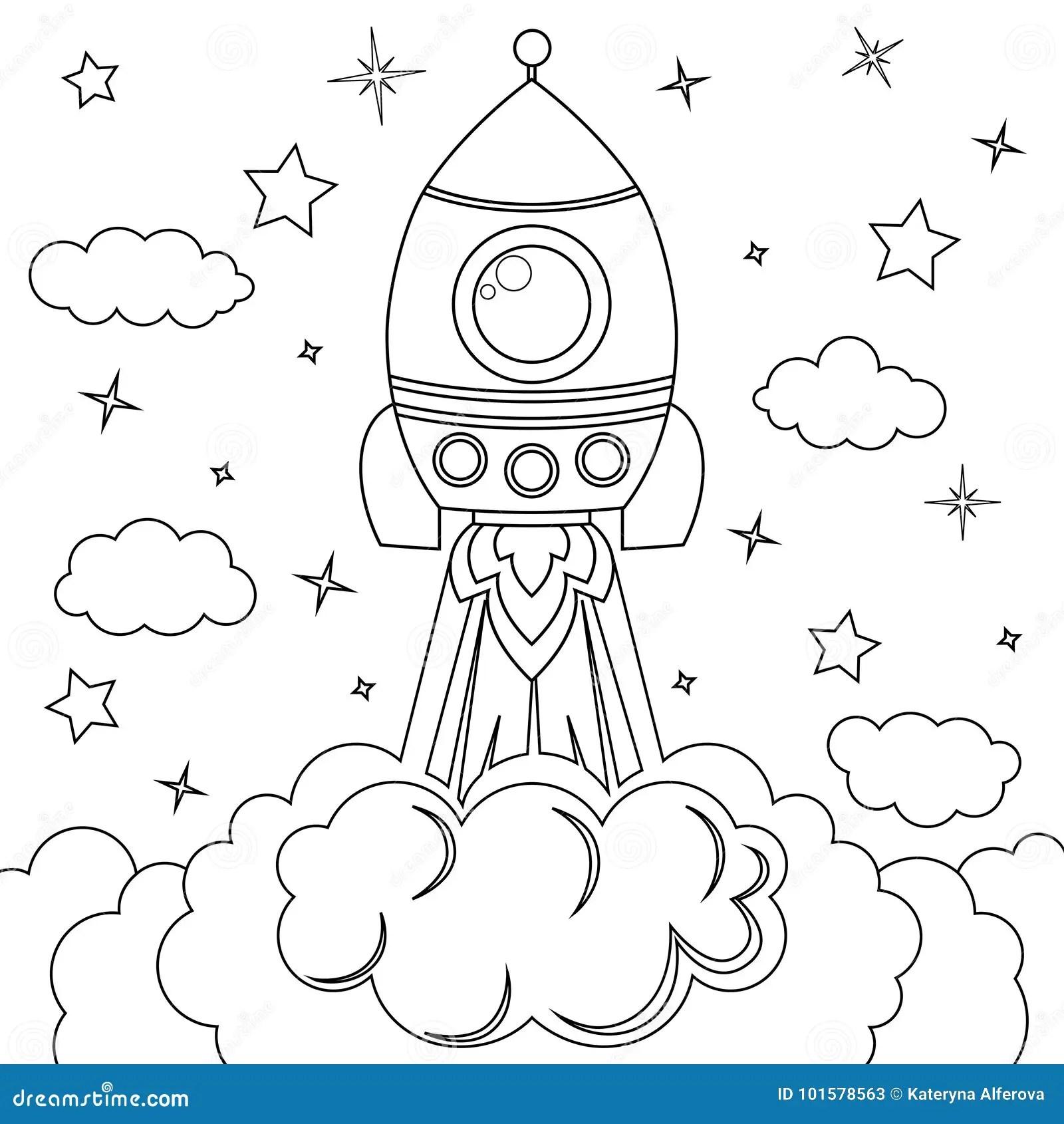 Rocket Launch Illustration Noire Et Blanche De Vecteur