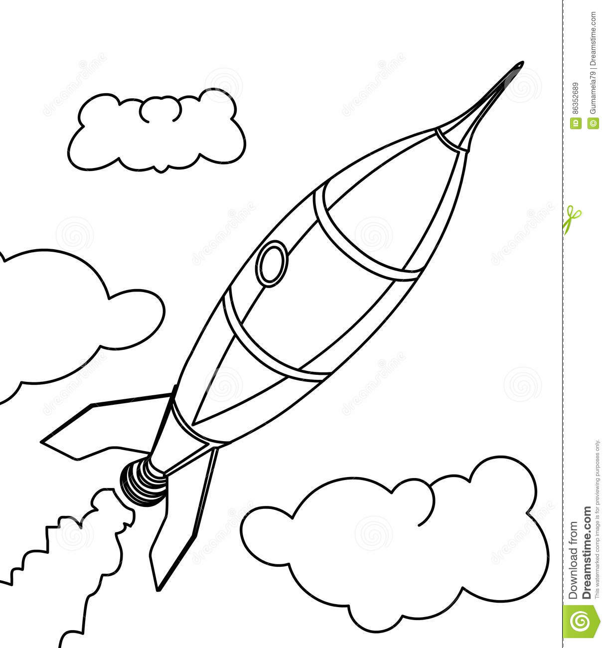 Rocket Ship Popular Easy Coloring Pictures