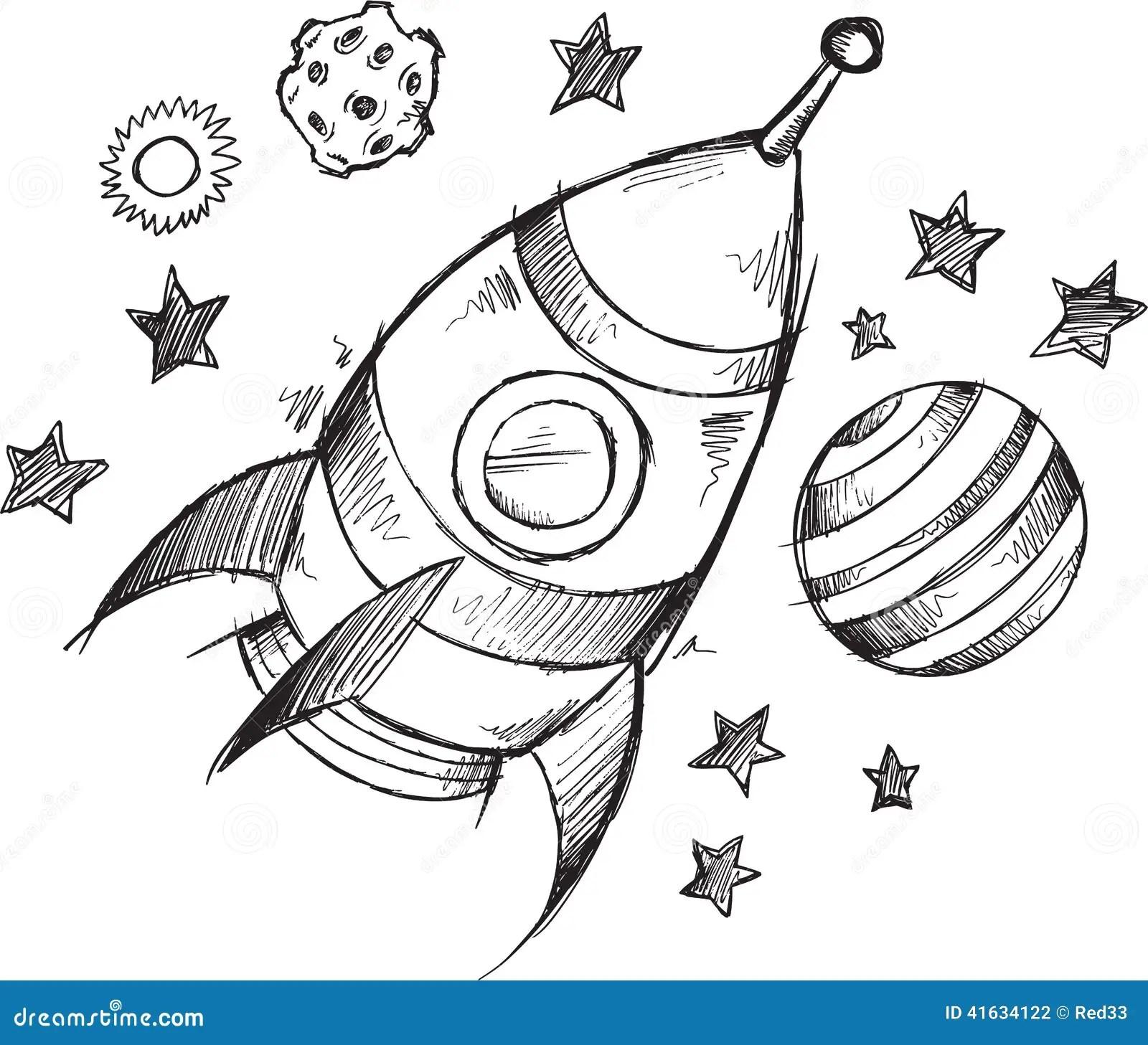 Rocket Space Doodle Sketch Vector Vector Illustratie