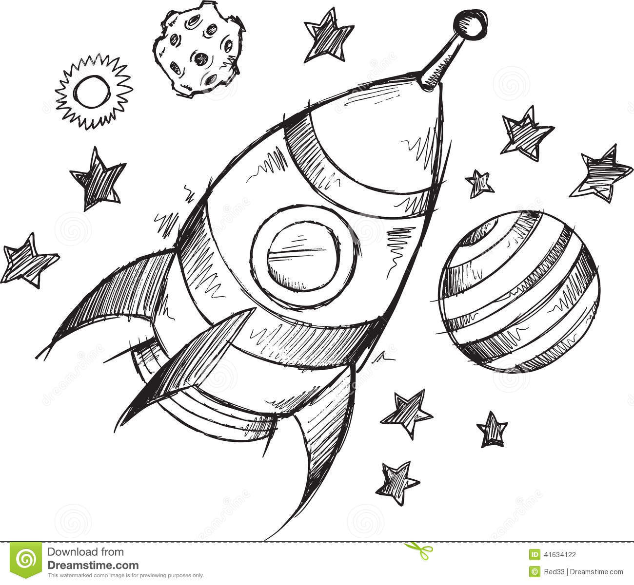 Rocket Space Doodle Sketch Vector Stock Vector