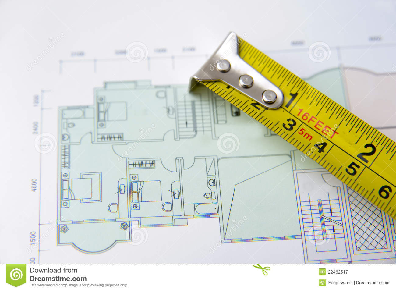 Rolls Of Architectural House Plans Amp Tape Measure Royalty