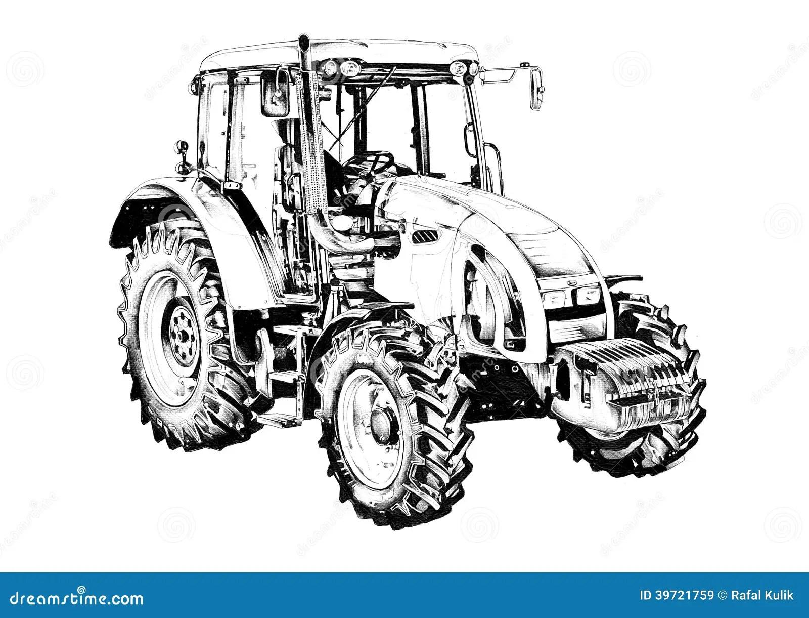 Rolniczego Ci Gnika Sztuki Ilustracyjny Rysunek Ilustracji
