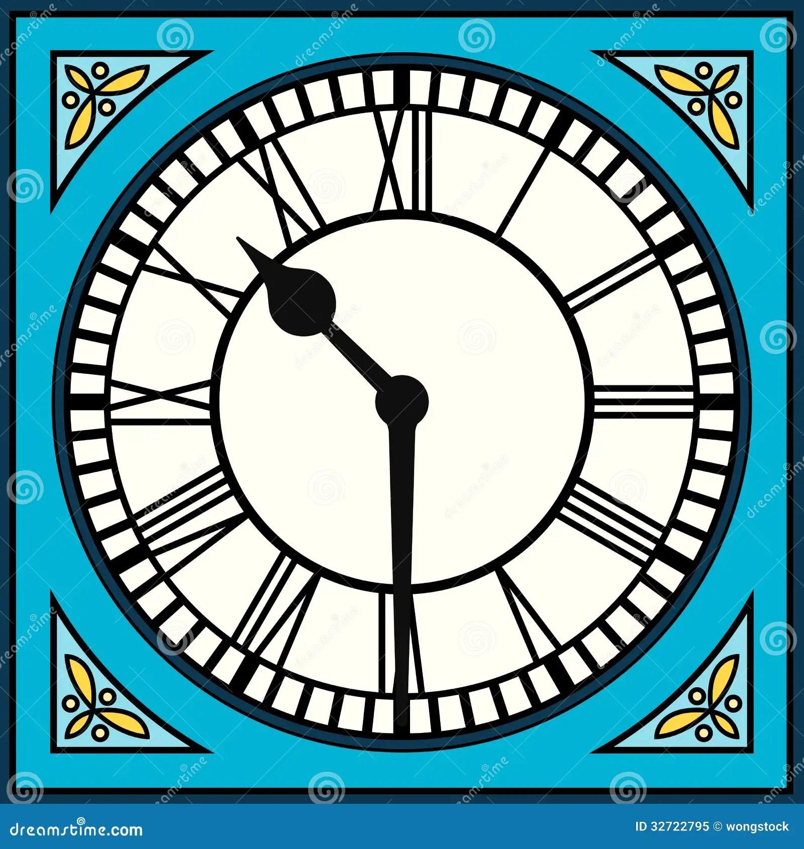 Roman Numeral Clock At Half Past Ten Stock Vector