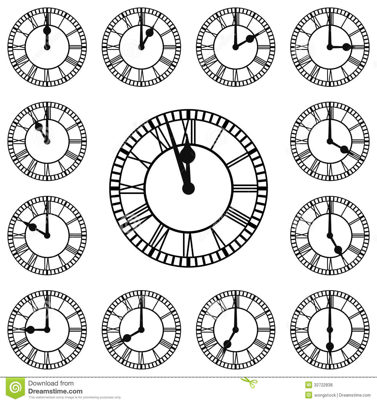 Roman Numeral Clocks Showing Every Hour Royalty Free Stock