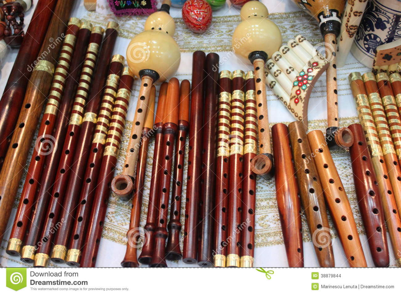 Romanian Traditional Flutes Stock Photo Image 38879844