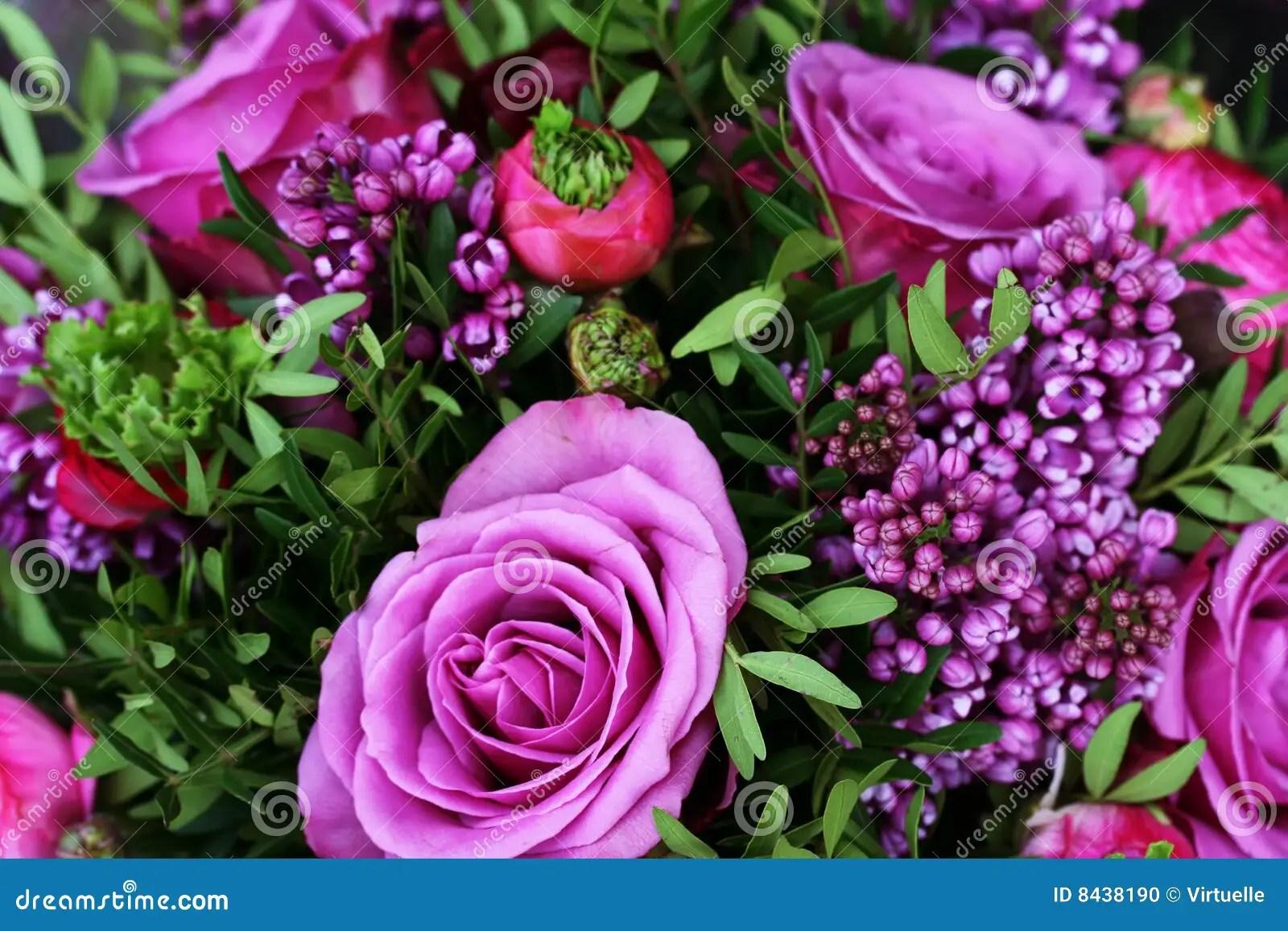 Romantic Bouquet With Purple Roses Stock Photo Image