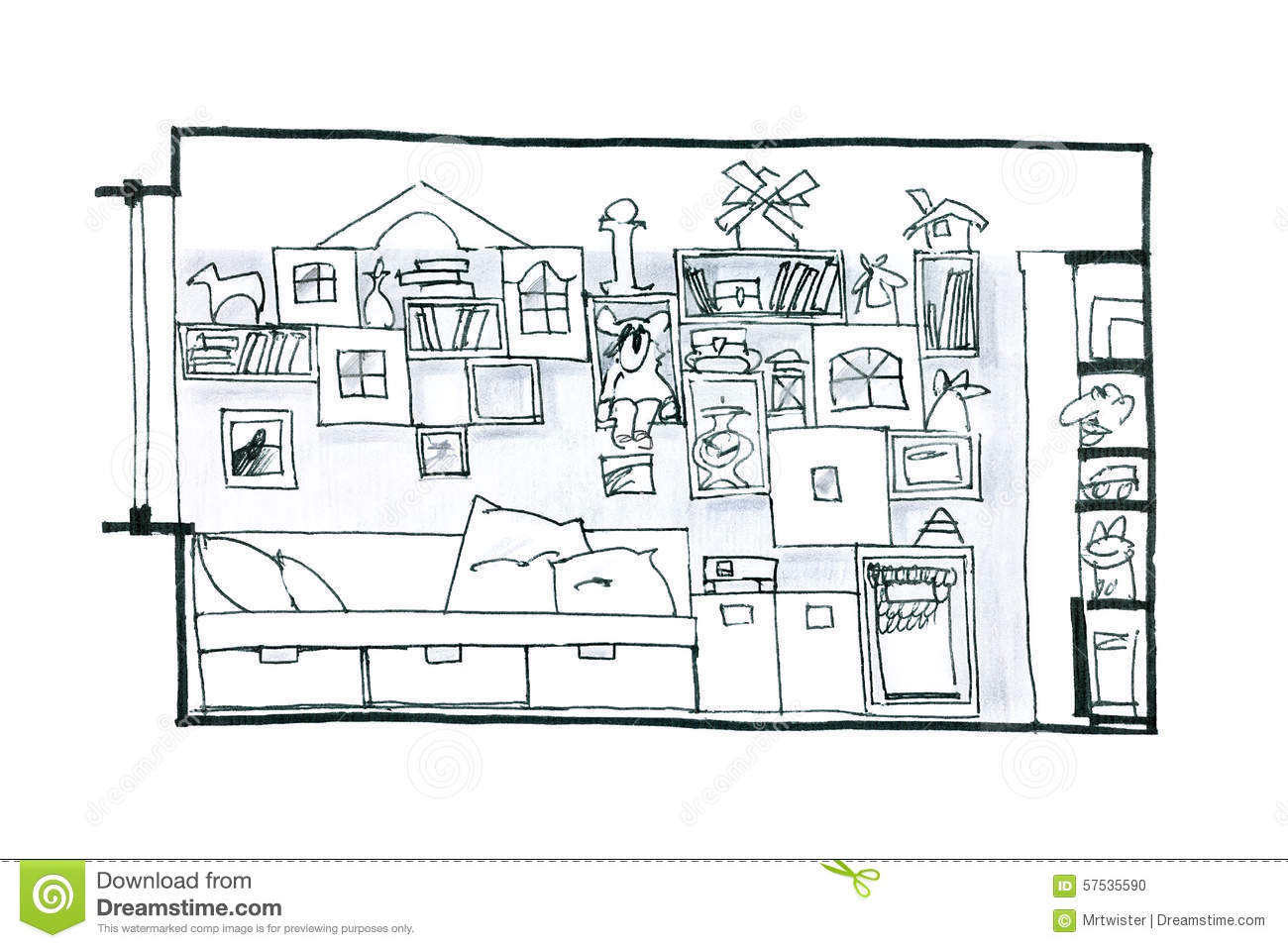 Room For Children Graphic Picture Stock Illustration