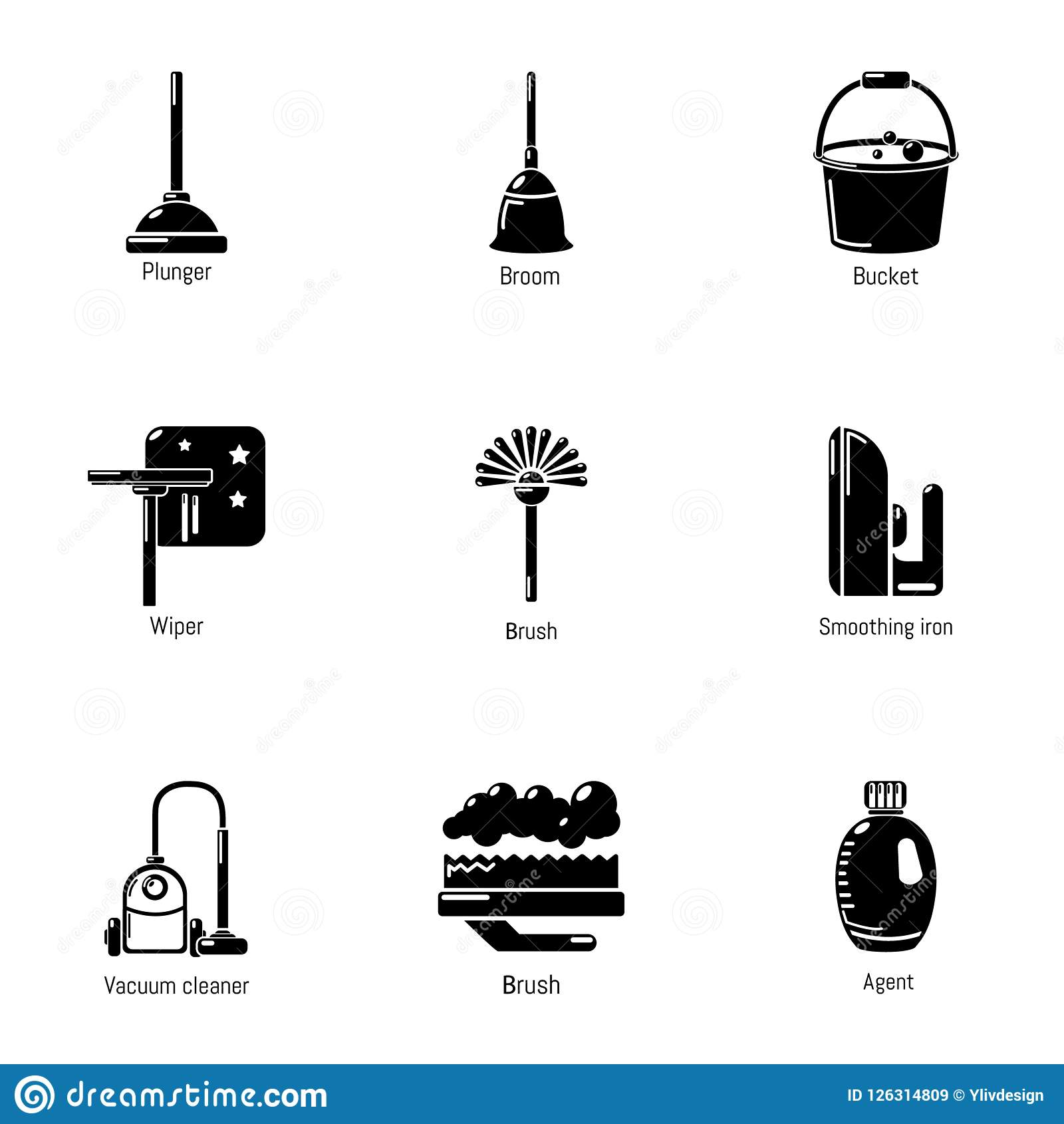 Room Cleaning Icons Set Simple Style Stock Vector
