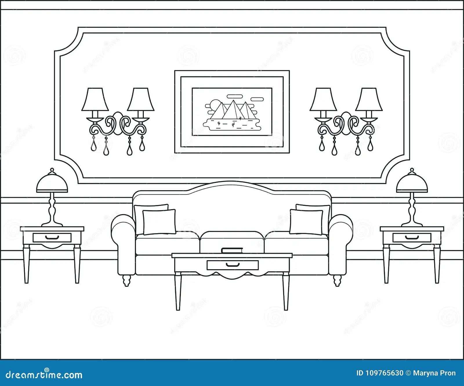 Living Room Interior In Flat Design Outline Vector