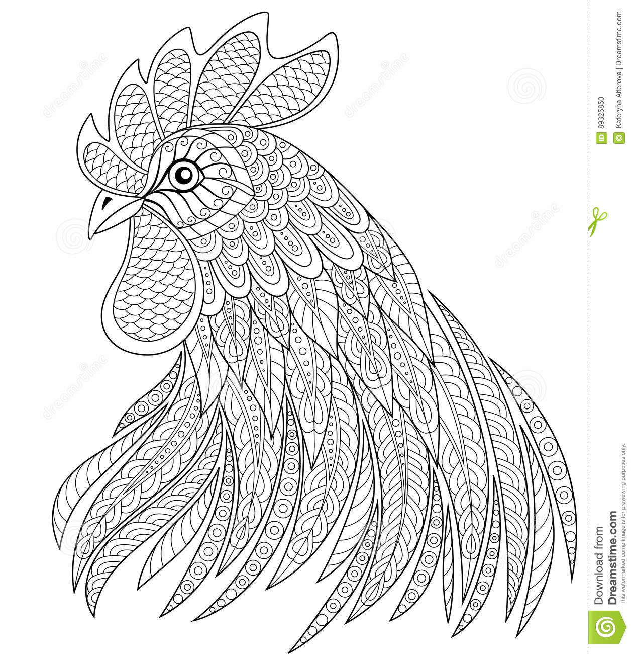 Rooster Head In Zentangle Style Symbol Of Chinese New