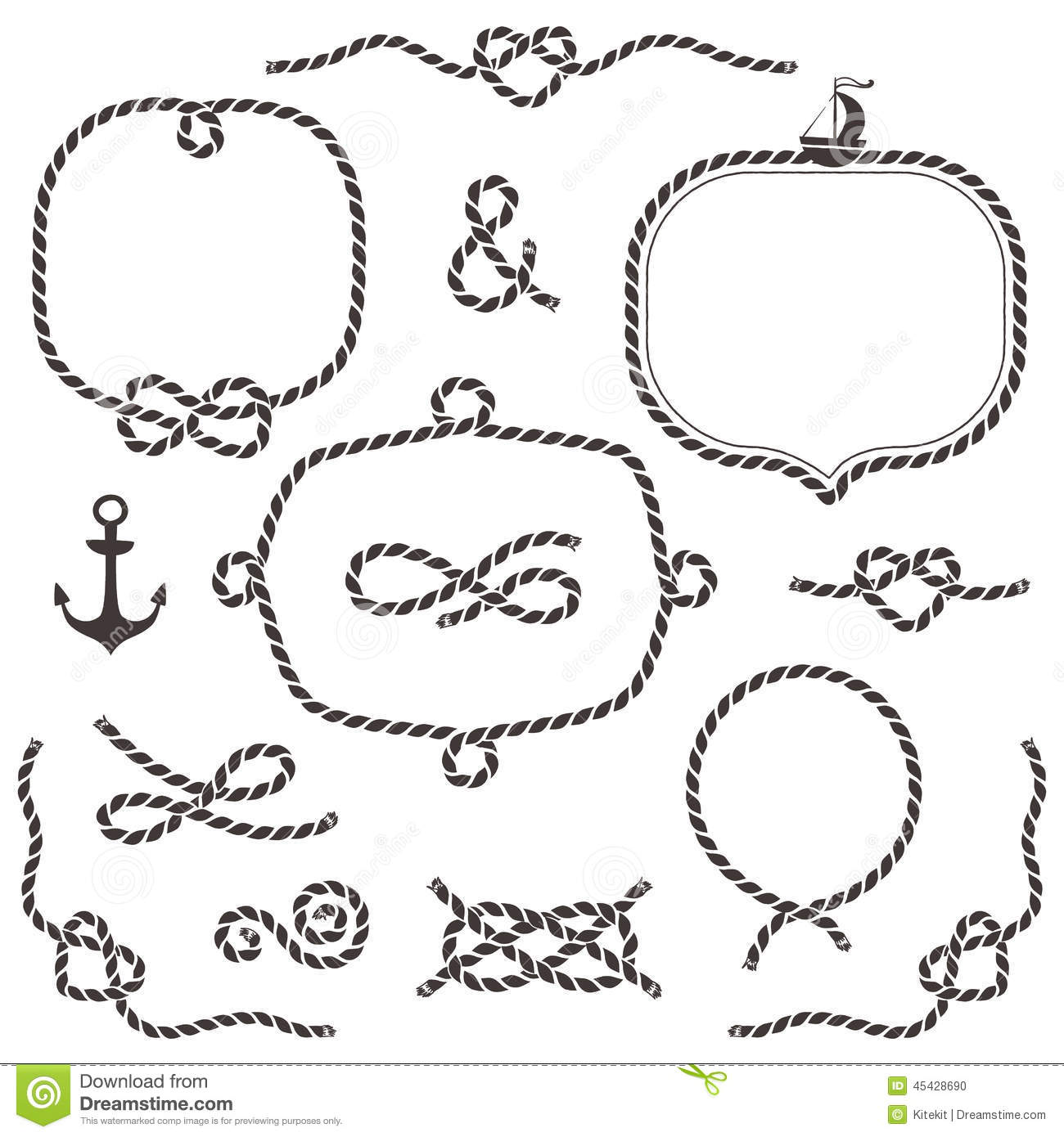 Rope Frames Borders Knots Hand Drawn Decorative