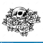 Rose Tattoo With Skull Roses Isolated Vector Illustration Stock Vector Illustration Of Geometric Beautiful 127586911